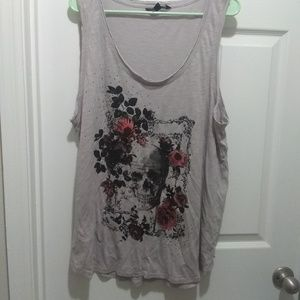 Rock & Republic Tops - Rock and Republic gray skull tank size 1x